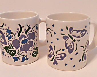 Set of two vintage Waechtersbach Floral Coffee Cups, Coffee Mugs, White and Lavendar, Blue, and Green, Butterflies, Flowers