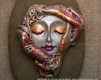 Veiled Flower Goddess Face Cab Polymer Clay Cabochon handmade OOAK Cameo