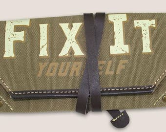 FIX IT YOURSELF - canvas pouch w/leather strap- Vintage Style Tool Roll Up Pouch by Trixie & Milo