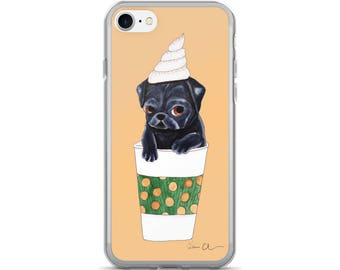Cute iPhone 7 Plus Case, Pug Dog iPhone Case, Fall Phone Case, Pumpkin Spice, Gifts For Girls Under 20, Pug Dog Lover Gift, Pug Phone Case