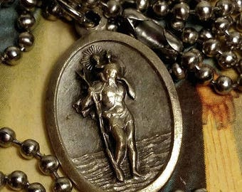 Flash Sale Saint Christopher St Sebastian Silver Tone Upcycled Religious Medal Pendant Charm Necklace Long Steel Chain