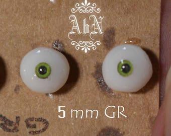 Hand Made Glass Like Eyes 5mm - GREEN - for OOAK Art Dolls GR-5mm