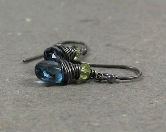 London Blue Topaz Earrings Peridot December, August Birthstone Oxidized Sterling Silver Earrings Gift for Her