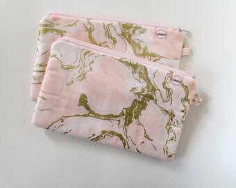 Pink zipper pouch, cash envelope, Eyeglass case, Pen pencil, cash wallet, Cosmetic makeup bag, sunglasses, purse organizer, Gold marble