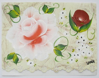 Hand Painted Card - Red and White Rose, Rust Rosebud, and Daisies - No. 1207
