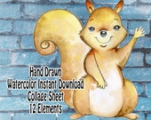 Hand Drawn Watercolor Squirrel Fall digital image for collage, papercraft, printable, art journaling, collage sheet, wall art