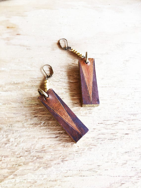 Rectangle Leather Earrings / Boho Jewelry