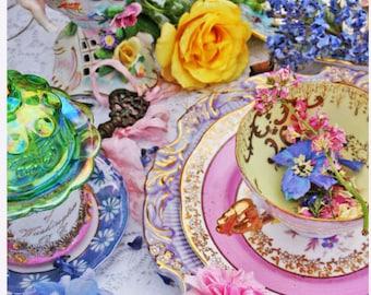 Floral Magic Tea party - 5 Postcard set