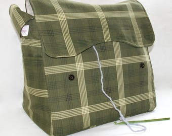 Green Plaid, Knitting Bag, Snag-Free, Zipper-less, Yarn Dispenser, Pro-knitter bag, handbag, yarn storage, crocheting tote, Knit on the go