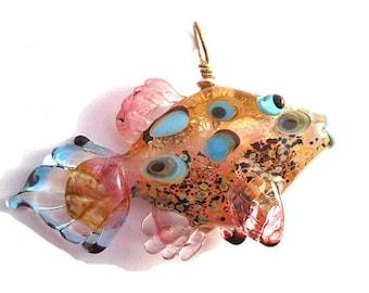 Pink transparent glass fish necklace, lampwork glass fish bead, handmade pendant, designer organic ocean focal bead, art glass bead