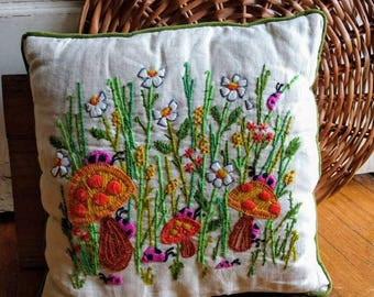 SALE!!!!!!**** 70's Crewel Embroidery Pillow