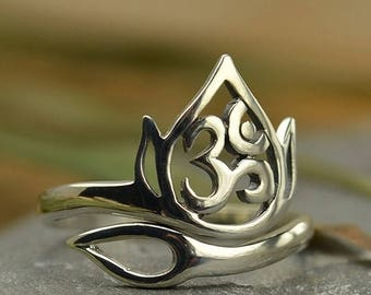 ON SALE TODAY Om Lotus Ring - Adjustable - Sterling Silver