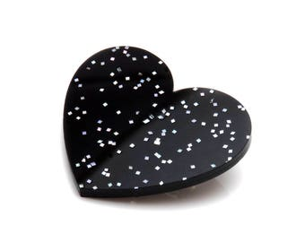 Black Holographic Fleck Acrylic Heart Brooch - Black Holo Glitter Love Heart Brooch - Statement Black Acrylic Heart Brooch - Emo Heart Pin