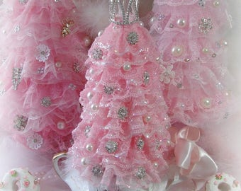 Pink Ruffled Rhinestone Pearl Embellished Lace Christmas Tree in Antique Bowl, Shabby, Paris Chic, Cottage, Romantic, Pink Christmas Tree