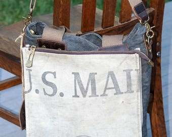 US Mail bag - Book Tote W- OOAK Canvas & Leather Tote .. Selina Vaughan