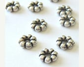 Summer Sale 9mm large Flower Shaped Metal Bead  spacers  Antique Silver - 10 Pcs - 5308