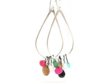 Multi stone earrings dangle earrings drop earrings swing earrings colorful earrings sterling silver earrings