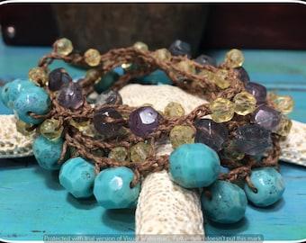 Long Necklace, Crochet Necklace, Crochet Bracelet, Turquoise Necklace, Vintage German Glass Mix & Sterling Silver Crochet Bracelet/Necklace