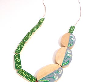Hand painted scandinavian style natural wood statement necklace - green yellow grey white limited edition