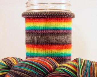 Fade to Black: Hand-dyed gradient self-striping sock yarn, 80/20 SW merino/nylon