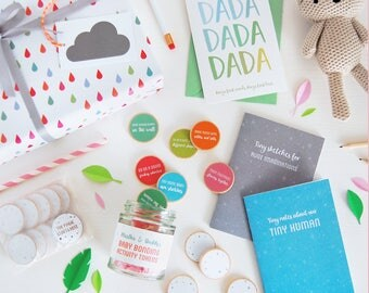 Daddy's First Father's Day Gift Set - Father's Day Gift Set - Dad And New Baby Set - Daddy And Me Bonding Gift Set - Jar And Notebooks