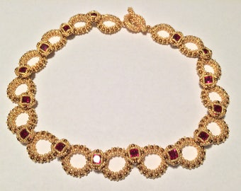 Gold and Ruby Necklace by Lyuda