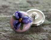 Floral Fantasy Snap Button Pink Purple