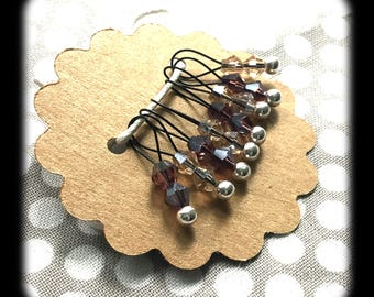 Snag Free Stitch Markers - Small Set of 8 - K96 - Purple and Pale Pink Crystal - Fits up to Size US 8 (5mm) Knitting Needles