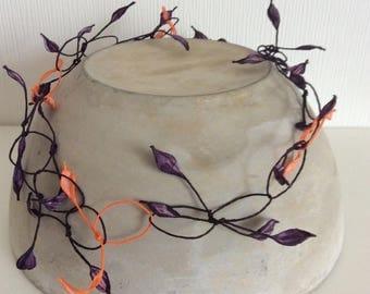 Blütenblätter Kette aus Papier - orange/aubergine