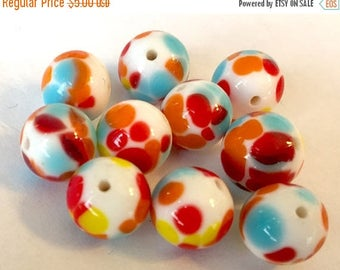 SALE 15% off Vintage beads  (8) Japanese glass  lampwork  rounds multicolor spots rainbow red yellow blue white opaque 10mm  (8)