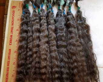"""F172-7 Lustrous Brushed Bundled Washed 8-9"""" Natural Dark Mohair from Little Dipper (Orchid) 1/2 oz"""