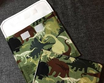 Camo Dinosaurs Reusable Sandwich Bag, Reusable Snack Bags