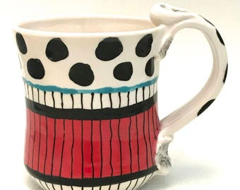 Ceramic Mug Red White and Black Ready to Ship 12 Ounces Handmade Kitchen Black Spotted Queen Coris Stoneware Coffee Cup MG0031