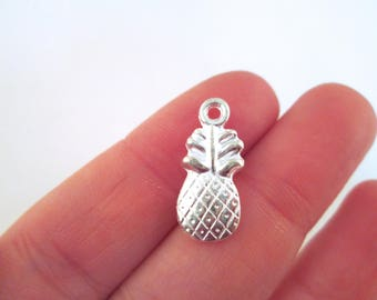 10 Silver Plated Pineapple Charms #G238