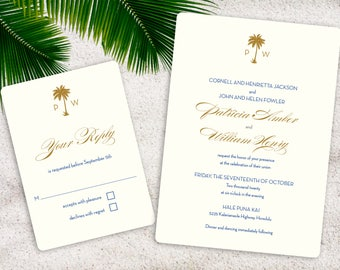 Palm Tree Monogram Wedding Invitation