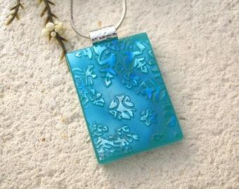 Aqua Blue Silver Necklace, Dichroic Jewelry, Snowflake Necklace, Fused Glass Jewelry, Dichroic Glass Pendant, ccvalenzo, OOAK   092716p101