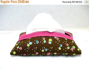 20% OFF Dots Tissue Holder - Pink Brown Tissue Cozy - Pocket Tissue Case