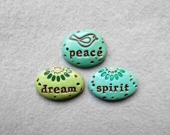 Pebbles of Inspiration/ Word Beads/2-Hole Connectors/Bracelet Connectors - Peace, Dream, Spirit