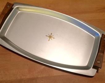 Vintage Mirro Medallion tray Atomic starburst brushed metal with teak wood handles