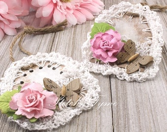 Floral & Lace Mini Gift Tags, Cottage Chic Home Decor, Baker Package Tags, Wedding Decor Set
