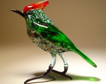 Handmade  Blown Glass Figurine Art Green with a Red Crest Bird
