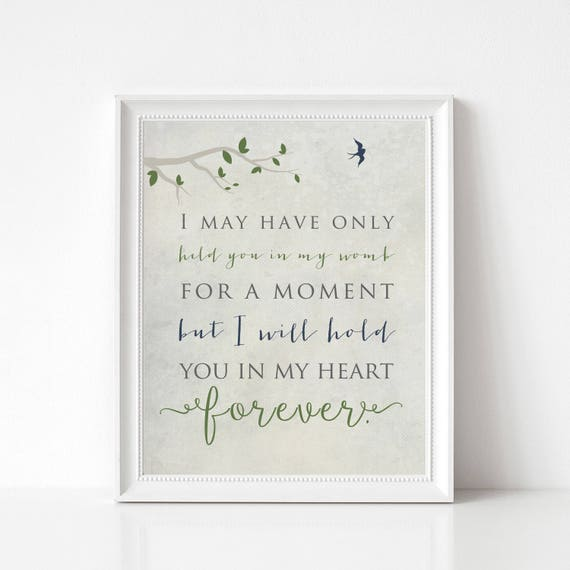 Death of Child Memorial Print, Infant Loss, Miscarriage Print - In Memory of Baby - I May Have Only Held You for a Moment