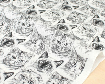 Japanese Fabric Cranky Cats - cotton lawn - off white - 50cm