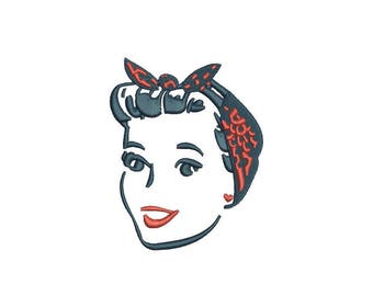 Girl Pinup Tattoo Retro Machine Embroidery File design 4 x 4 inch hoop