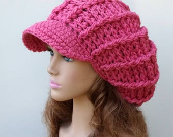 Instant Download PDF Pattern Newsboy hat/poofy ribbed slouchy beanie hat/Visor chunky woman man crochet cap/Permission to sell finished hats