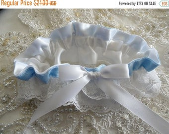 On Sale White and Blue Vintage  Double Lace Ruffled Wedding Garter-1- Fits 14-20 inches