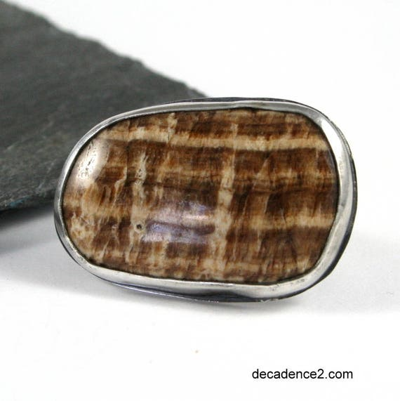 Plaid, Brown & White Stone RIng, Sterling Silver, Chunky Statement Ring