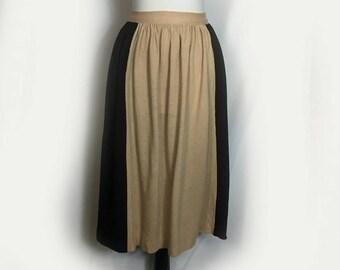 Vintage Skirt, 1960's, Dirndl, Knit, Color Block, Beige and Black Panels, Calf Length, Small