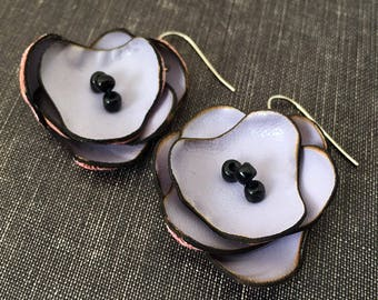 Lavender Leather Flower Earrings, Handmade in USA Seattle, Eco-Friendly Leather, Unique Jewelry, Purple and Black, OOAK