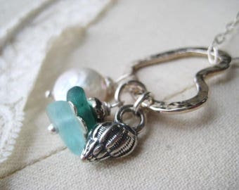Heart Necklace, Sterling Silver, Charm Necklace, Beach Glass, Genuine SeaGlass, Coin Pearl, Artisan Shell, Aqua Glass, Teal Glass, candies64